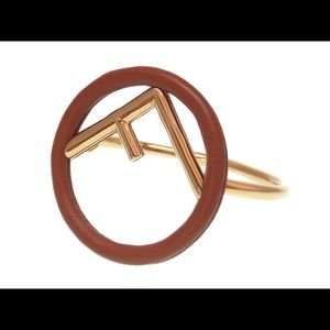 F is FENDI Brown Leather Cuff